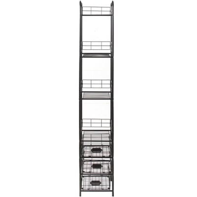 Lakeside 3-Tier Slim Metal Storage Basket Shelf Rack for Home Storage