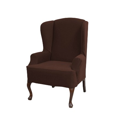 Incredible Wingback Chair Stretch Grid Slipcover Putty Serta Ibusinesslaw Wood Chair Design Ideas Ibusinesslaworg