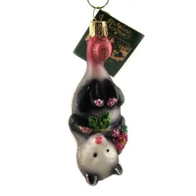 "Old World Christmas 4.25"" Blossom Opossum Playing Possem  -  Tree Ornaments"