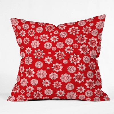 "16""x16"" Lisa Argyropoulos Mini Flurries Square Throw Pillow Red - Deny Designs"