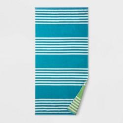 Reversible Stripe Beach Towel XL Sky Blue - Sun Squad™