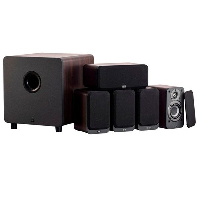 Monoprice HT-35 Premium 5.1-Channel Home Theater System - Espresso, With Powered Subwoofer, Low Profile Speaker Grilles, Secure Mounting Option