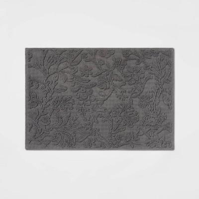 "21""x30"" Performance Solid Cotton Bath Mat Dark Gray Floral - Threshold™"