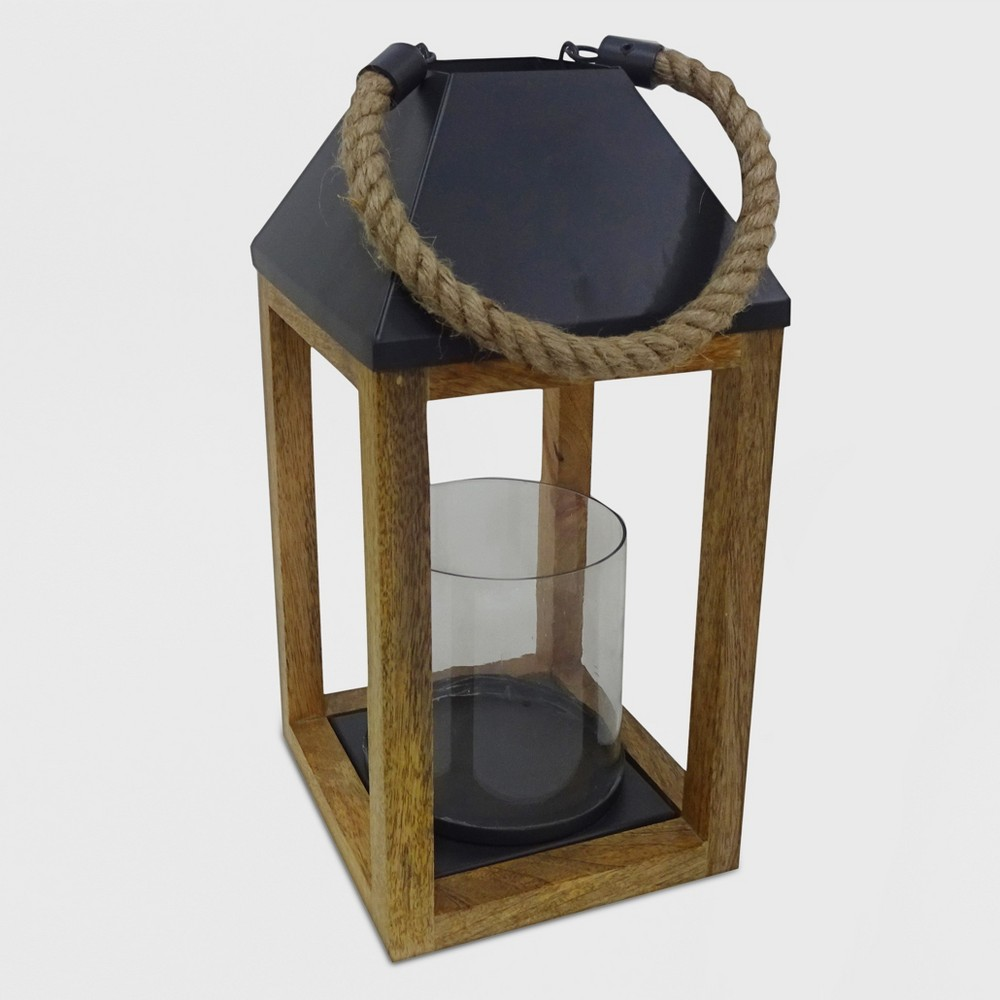 14 Outdoor Lantern Wood and Rope - Threshold, Brown