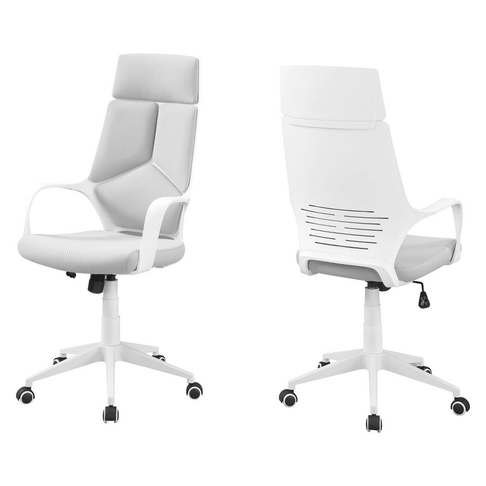Office Chair Fabric High Back Executive White - EveryRoom