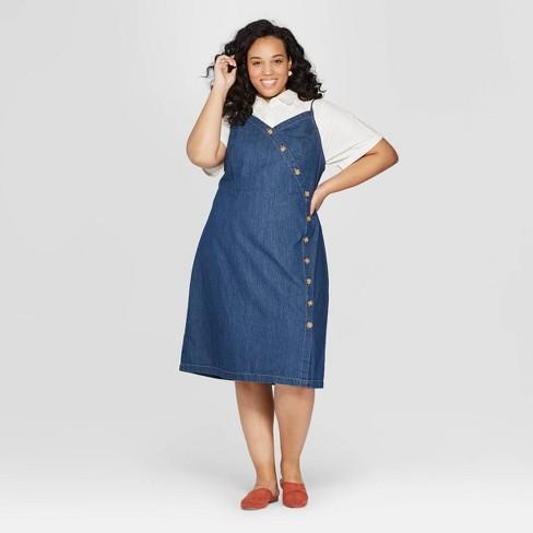 3fb326ad5e3 Women s Plus Size Sleeveless V-Neck Denim Dress - Universal Thread™ Dark  Blue   Target