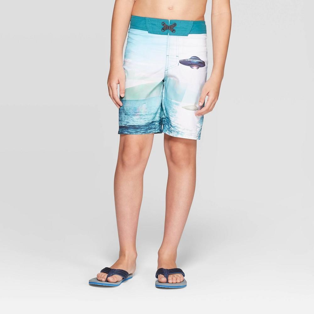 Fin Fun Boys Blue Shark Rash Guard and Board Short Swim Suit Set