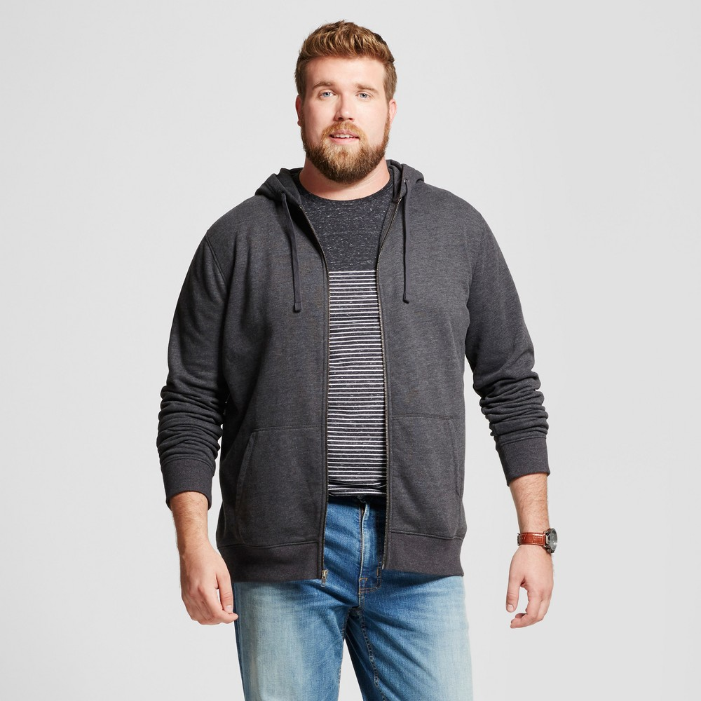 Men's Big & Tall Long Sleeve Hooded Fleece Sweatshirt - Goodfellow & Co Charcoal (Grey) 4XB