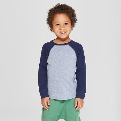Toddler Boys' Long Sleeve Raglan T-Shirt - Cat & Jack™ Navy/Blue 3T