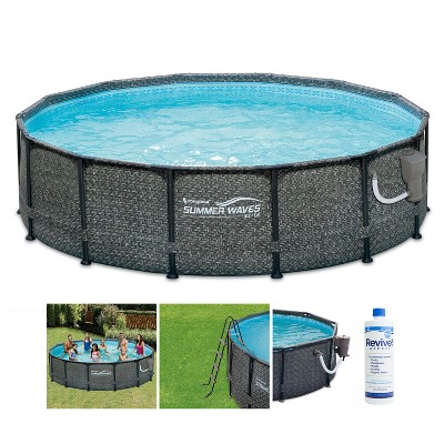 Summer Waves P2001448E14ft x 48in Round Frame Above Ground Swimming Pool Set with Ladder, Skimmer Pump, Cartridge, Treatment Cleaner, and Ladder, Gray