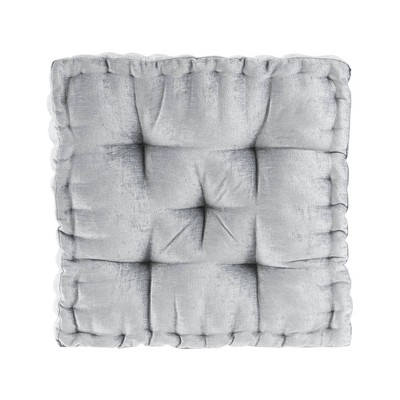"""20""""x20"""" Oversize Diah Poly Chenille Square Floor Pillow Gray"""