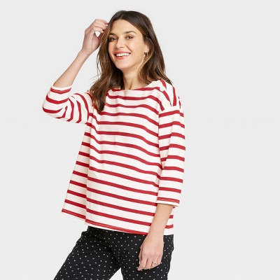 The Nines by HATCH™ Maternity Striped 3/4 Sleeve Boat Neck Drop Shoulder Top Red