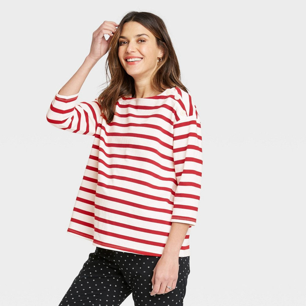 The Nines By Hatch 8482 Maternity Striped 3 4 Sleeve Boat Neck Drop Shoulder Top Red L