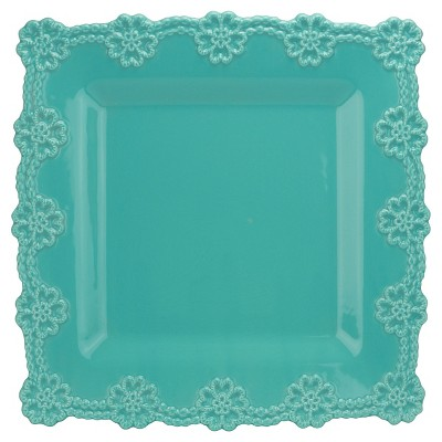 10 Strawberry Street Lace 12  Square Platter - Turquoise