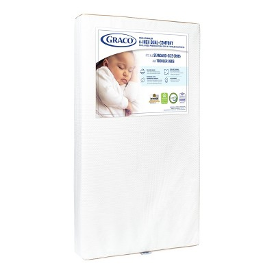 "Graco 6"" Dual-Comfort Baby Crib and Toddler Mattress - White"