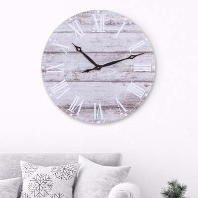 30  Frameless Rustic White Washed Wood Plank Wall Clock Gray - Patton Wall Decor