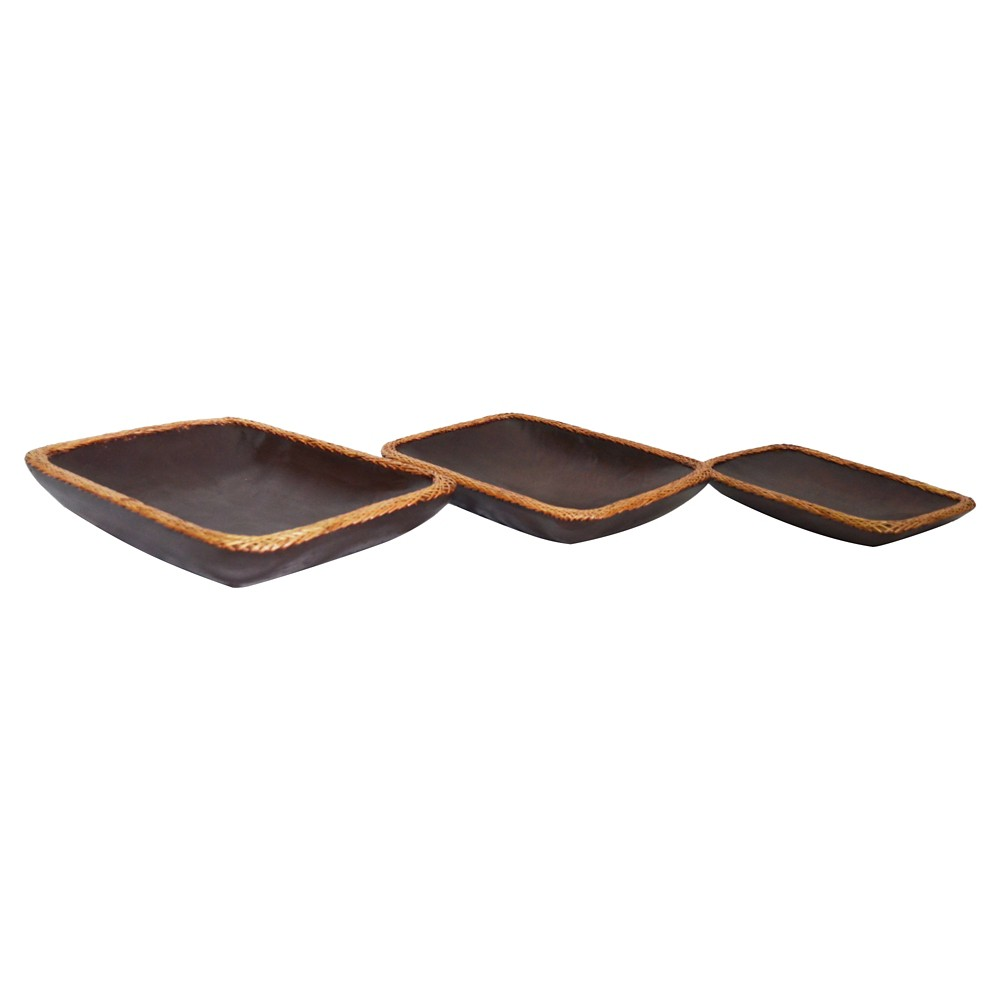 A&b Home Set of 3 Wood and Rattan Trays, Brown