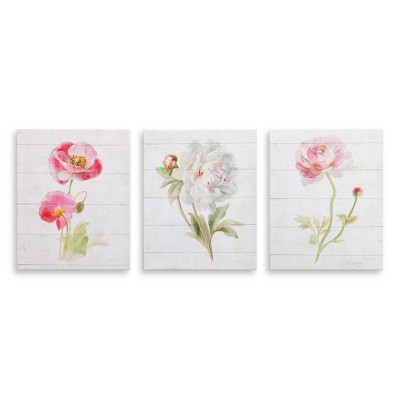 """8""""x10"""" 3pc Pink June Blooms on Wood Painting Canvas Art Pink - Patton Wall Decor"""