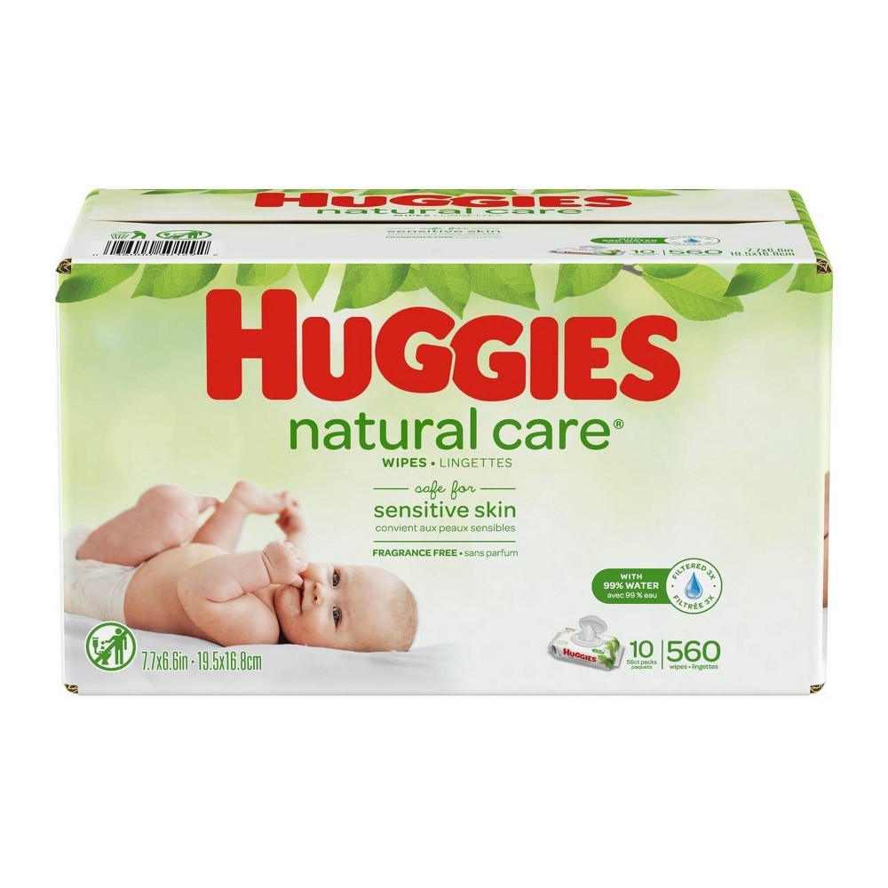 Huggies Wipes Natural Care Baby Wipes - 560ct Care for your baby's delicate skin from the very start with Huggies Natural Care Baby Wipes. Safe for sensitive skin, Natural Care Wipes contain 99 percent triple-filtered water for a pure, gentle clean. Plus, they are pH-balanced to help maintain your newborn's natural skin barrier and enriched with aloe and vitamin E to help keep skin healthy and conditioned. The #1 branded wipe*, Huggies Wipes are dermatologically tested and hypo-allergenic. In addition, Natural Care sensitive wipes are fragrance-free, alcohol-free and paraben-free, and they contain no phenoxyethanol or Mit. Size: 560ct.