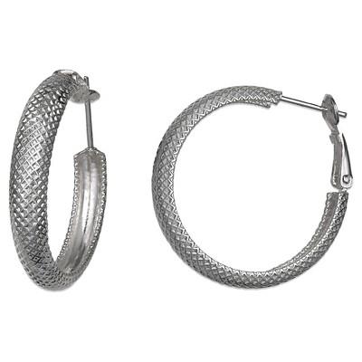 Textured Hoop Earrings in Sterling Silver - 30mm