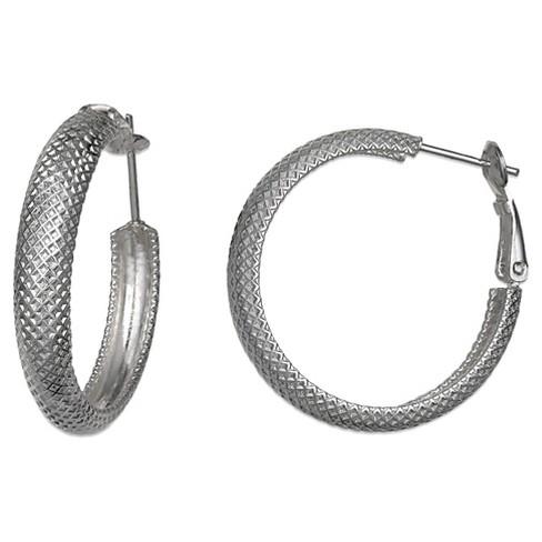Sterling Silver Textured Huggy Earrings