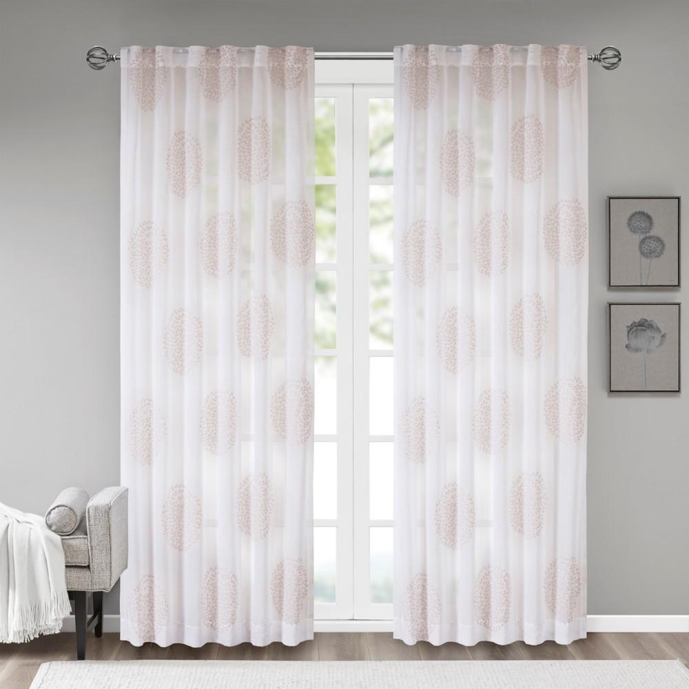 Ophelia Sheer Branch Flocking Window Curtain Panel Blush 50