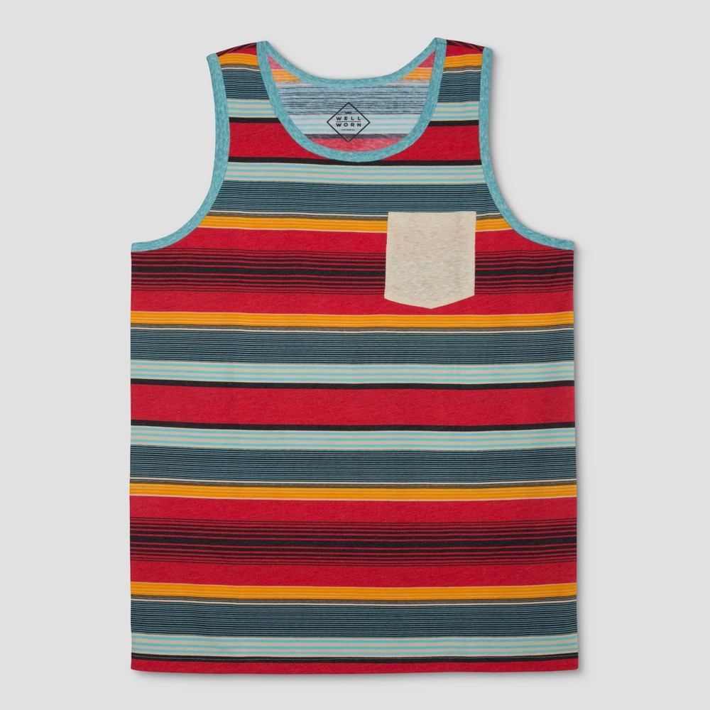 Well Worn Men's Striped Tank Tops - Team Color L, Multicolored