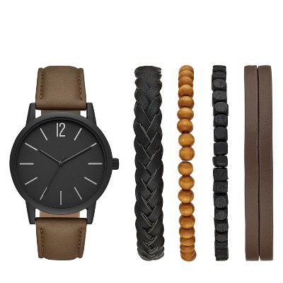 Men's Strap Watch Set - Goodfellow & Co™ Brown