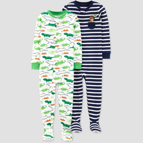 Toddler Boys' Stripe Mererkat Lizard Footed Sleepers - Just One You® made by carter's Navy/Green - image 1 of 1