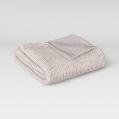 "60""x50"" Ribbed Plush Throw Blanket Light Gray - Room Essentials™"