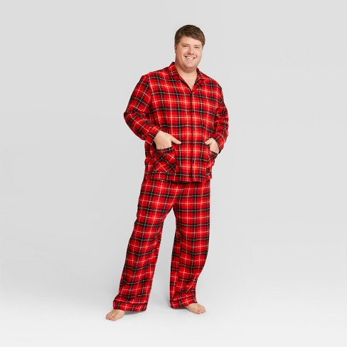 mens plaid big tall holiday notch collar pajama set wondershop red