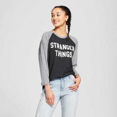 Women's Stranger Things® Raglan 3/4 Sleeve T Shirt (Juniors')   Black/Gray by Shirt (Juniors')