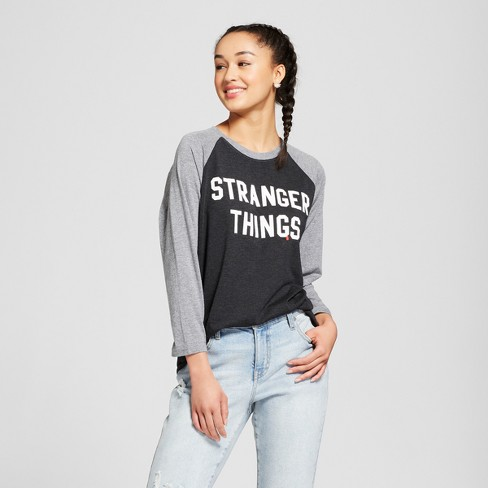 cb01288a Women's Stranger Things® Raglan 3/4 Sleeve T-Shirt (Juniors') - Black/Gray