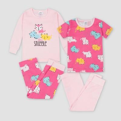 Gerber Baby Girls' 4pc Cat Snug Fit Pajama Set - Pink 12M
