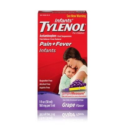 Infants' Tylenol Pain Reliever and Fever Reducer Liquid Drops - Acetaminophen - Grape - 1 fl oz