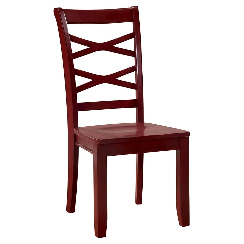 Sun Pine Emery Transitional Cross Back Side Dining Chair Red And Blue Set Of 2 Target