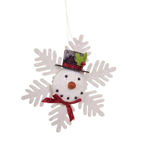 Christmas Top Hat Ornaments.Melrose 7 75 Glittered Snowflake Snowman With Top Hat Christmas Ornament White Red