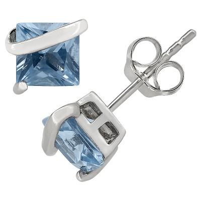 Princess-Cut Aquamarine Stud Earrings in Sterling Silver