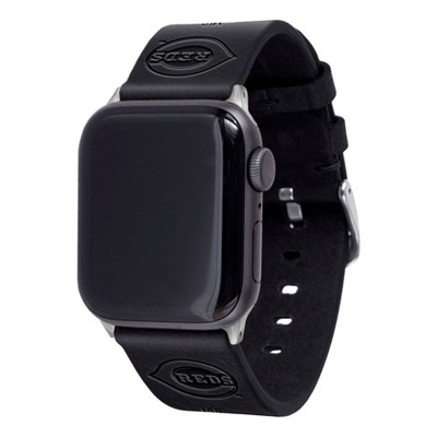MLB Cincinnati Reds Apple Watch Compatible Leather Band 42/44mm - Black