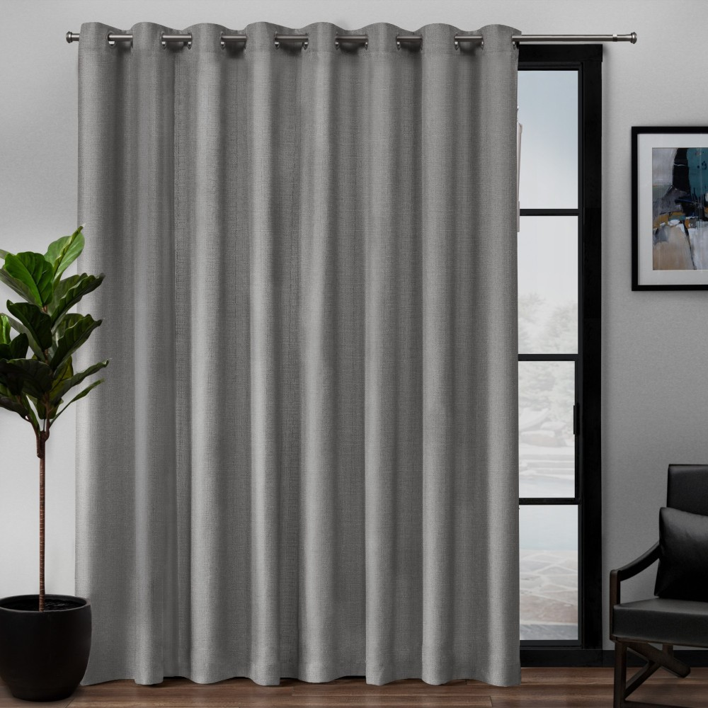 """Image of """"108""""""""x84"""""""" Loha Patio Grommet Top Single Curtain Panel Black Pearl - Exclusive Home, Soft Black"""""""