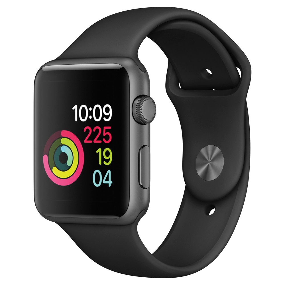 Apple Watch Series 1 42mm Space Gray Aluminum Case with Black Sport Band, Space Gray/Black