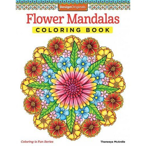 Flower Mandalas Adult Coloring Book Target