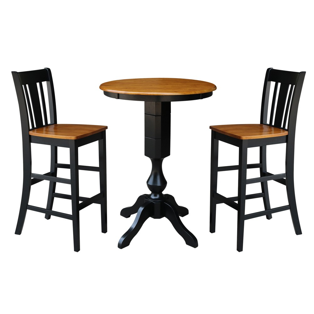 30 3pc Daisy Round Pedestal Bar Height Table with 2 Stools Set Black/Cherry - International Concepts, Multicolored