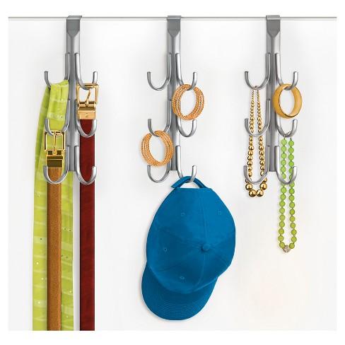 b7f66d45c2d Lynk Over Door Accessory Hanger (Set Of 2) - Vertical 6 Hook Rack -  Platinum   Target