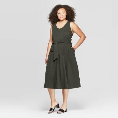 Women's Plus Size Sleeveless U Neck Wrap Waist Tank A Line Dress   Who What Wear by Neck Wrap Waist Tank A Line Dress