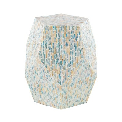 Natural Wood and Shell Geometric Accent Table Blue - Olivia & May