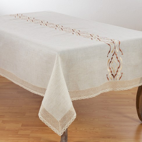 Saro Lifestyle Poly Blend Tablecloth With Abstract Pattern And Embroidered Lace Design - image 1 of 3