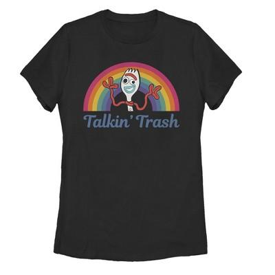 Women's Toy Story Forky Talkin' Trash Rainbow T-Shirt