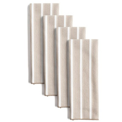 """8pk 15""""X28"""" Rainbow Stripe Kitchen Towels Natural - Town & Country Living"""