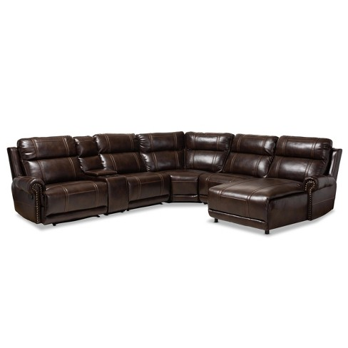 6pc Dacio Faux Leather Upholstered Sectional Recliner Sofa Brown